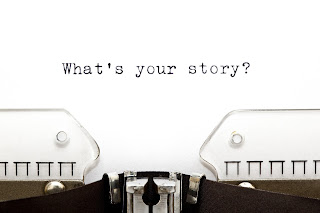 "Typewriter with words ""What's Your Story"""