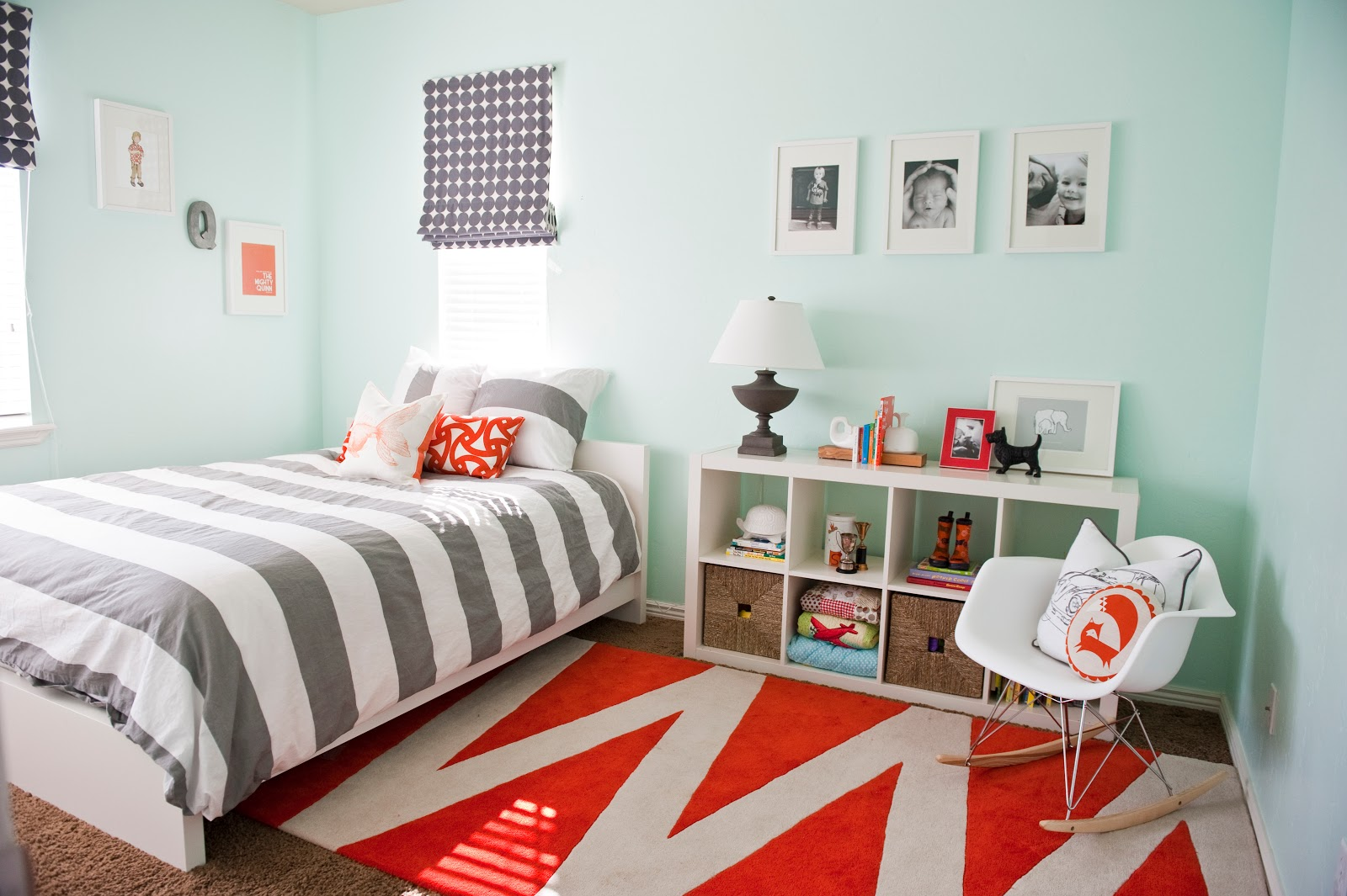 Gray orange bedroom before and after house of jade - Grey and orange bedroom ...