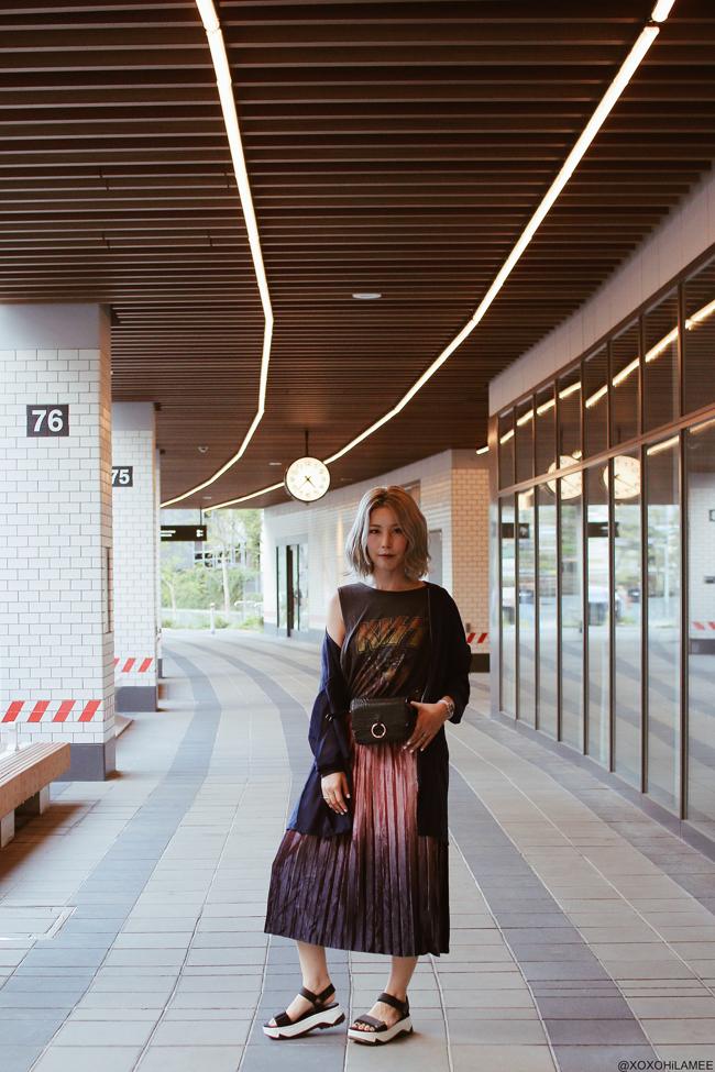 Japanese Fashion Blogger,MizuhoK,20180922OOTD, LONG MA-1 : jouetie / TANK TOP : SNIDEL / SKIRT : CHICWISH / BAG : SHEIN / SANDALS : ZARA / WATCH : Olivia Burton / bracelet : SHASHI