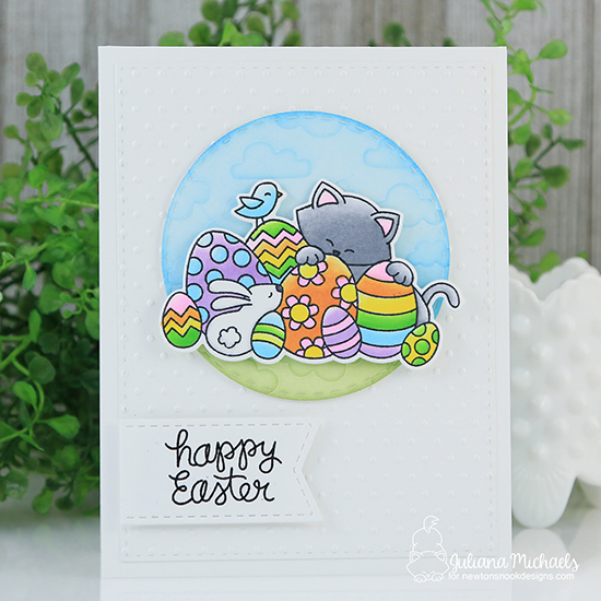 Easter Cat Card by Juliana Michaels | Newton's Easter Basket & Cloudy Sky Stencil by Newton's Nook Designs #newtonsnook #handmade