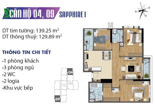Thiết kế căn hộ số 4 và 9 tòa Sapphire 1