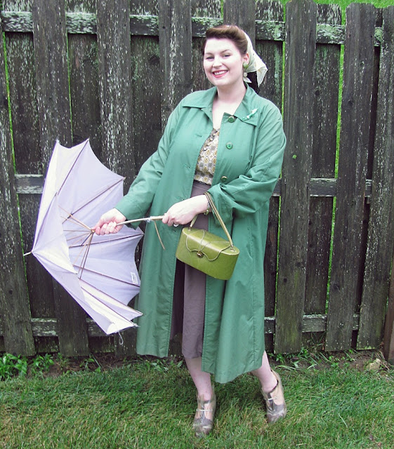 1940s rainy day fashion plastic rain boots, vintage rain coat, 1940s box purse plus size retro style via Va-Voom Vintage