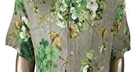 9d5fd487a8a Gucci Men s Brown Viscose Green Bloom Geranium Print Shirt 401314 2389 (52  R