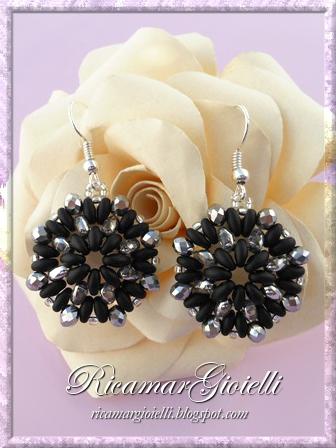 Orecchini nero e argento con twin e cipollotti
