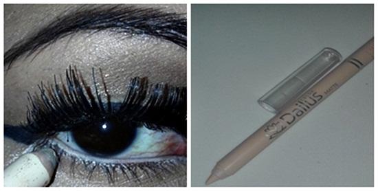 colar cílios postiços e aplicar lápis bege