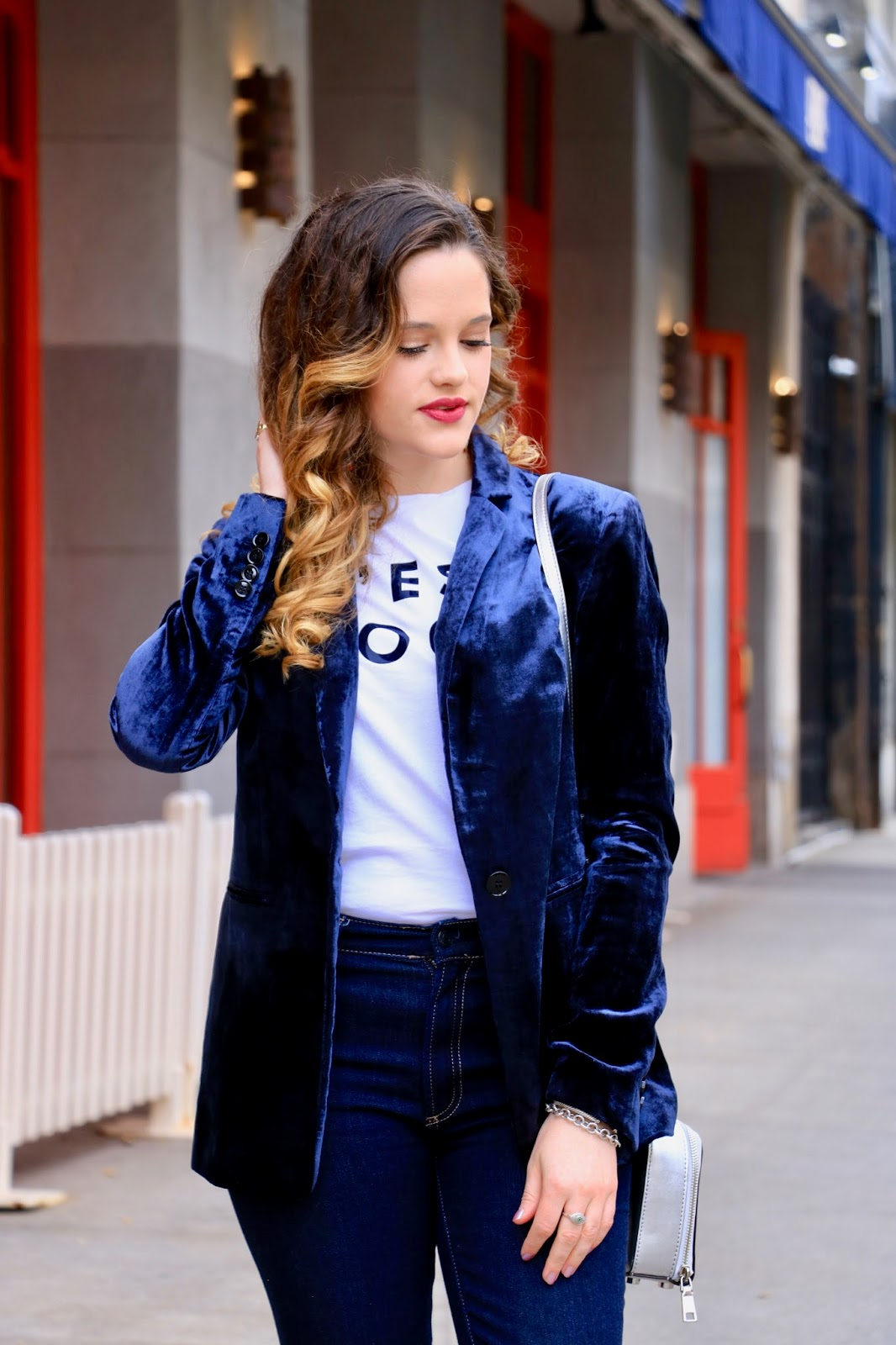 Nyc fashion blogger Kathleen Harper showing how to wear a velvet blazer