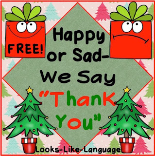 "A free, fun game to practice saying ""Thank you!"" from Looks-Like-Language"