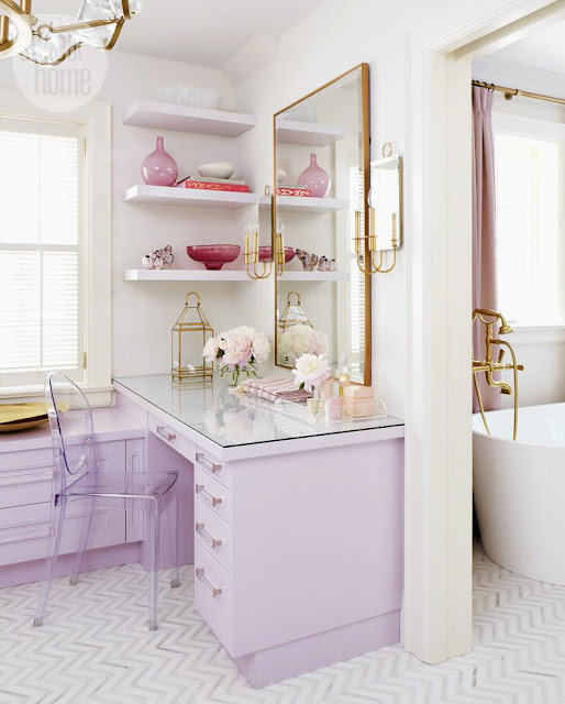 Makeup Vanity Decor | Images of inspiration in Lavender, Lilac and Mauve