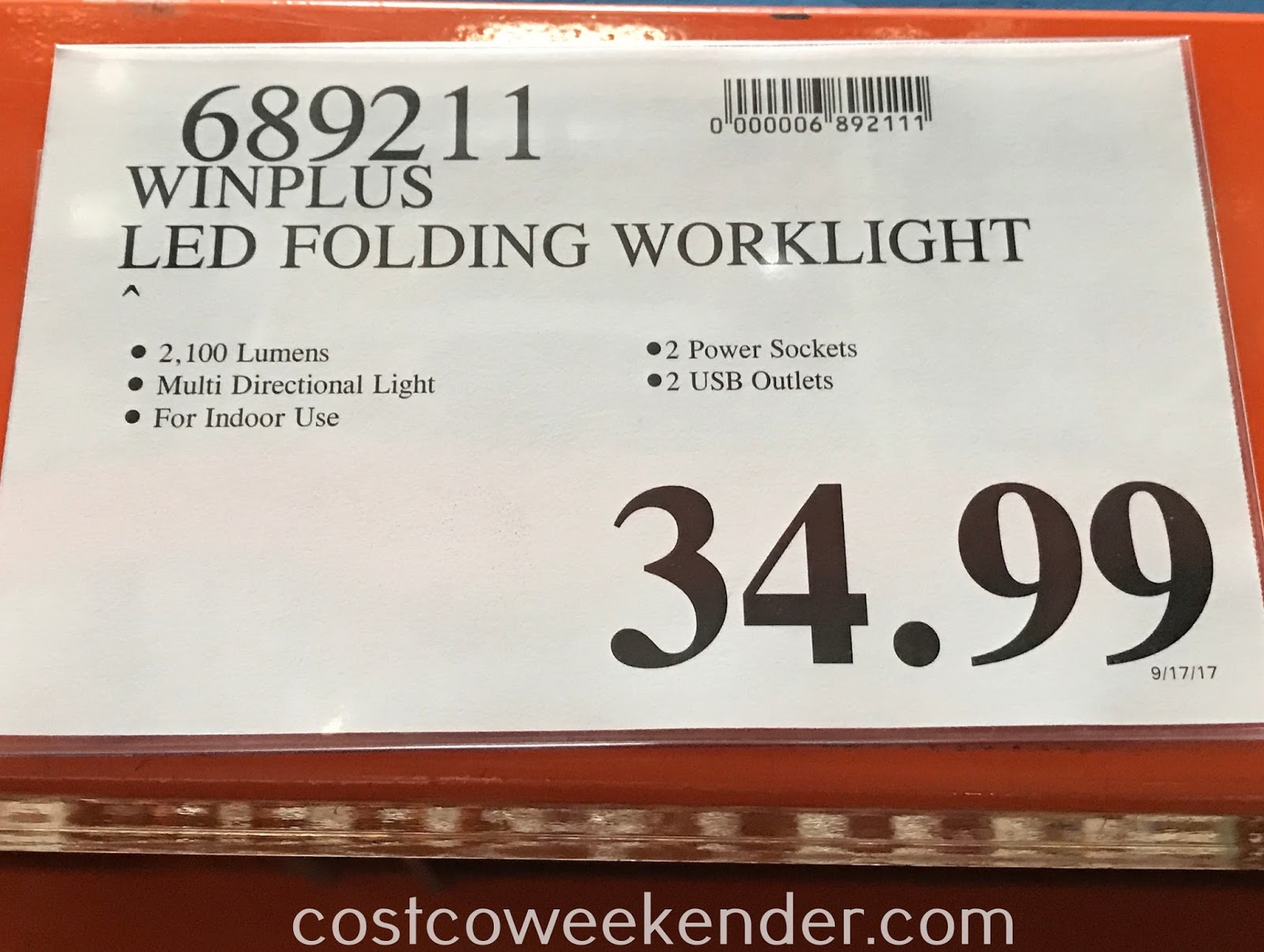 Deal for the Winplus LED Folding Worklight at Costco