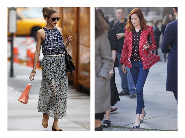 Сочетание юбки с цветочным принтом с топом в горошек, жакета в цветочек с блузкой в горошек