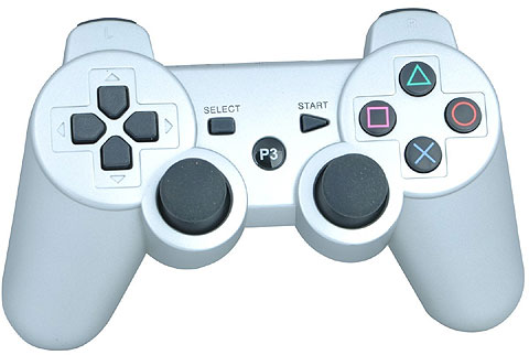 "White dual-shock looking controller with ""P3"" where the Sony Playstation button would normally be."