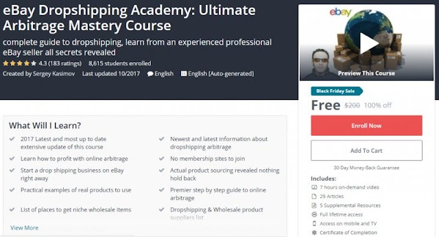 [100% Off] eBay Dropshipping Academy: Ultimate Arbitrage Mastery Course  Worth 200$