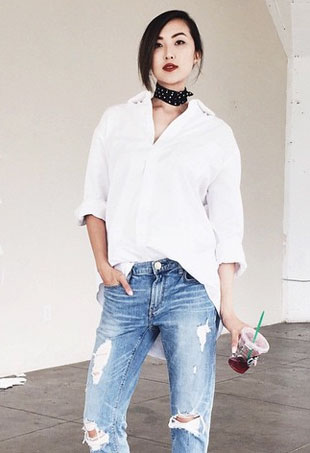 neck scarf black bandana white blouse denim perfect casual outfit
