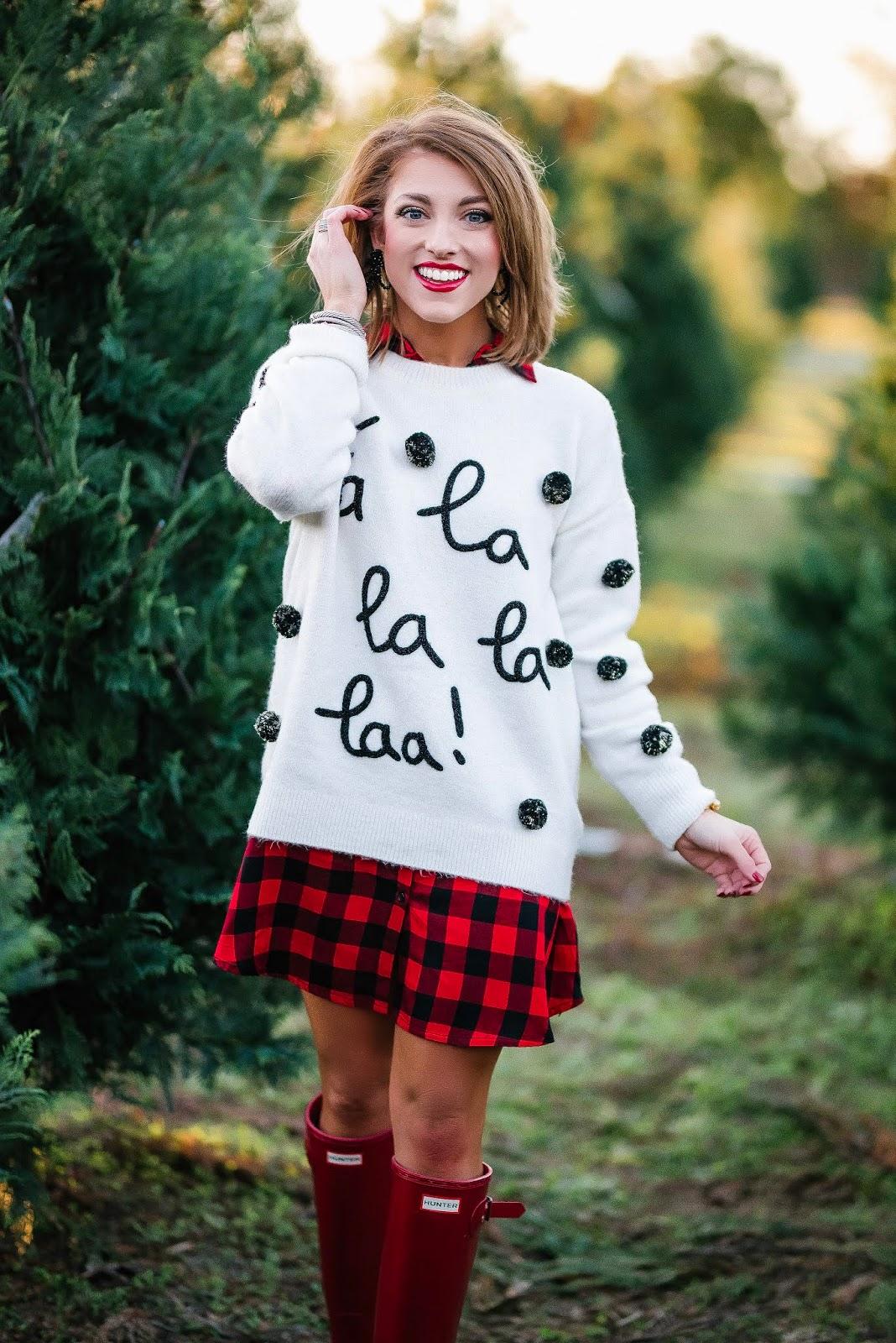 Buffalo Plaid Dress, Fa La La La Sweater & Hunter Boots + Gift Guide for the Pet Lovers - Something Delightful Blog