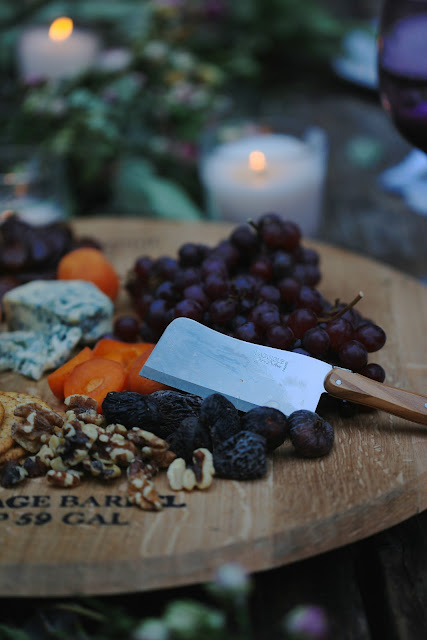 cheese board on table outdoors