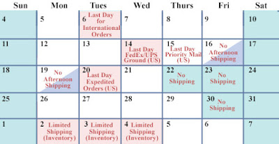 Shipping Schedule December 2016 - January 2017
