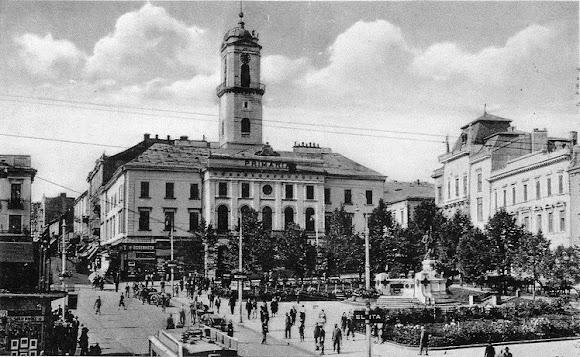 Черновцы. Центральная площадь. 1918 – 1940 г.г. – площадь Воссоединения (Piata Unirii) (в румынский период)