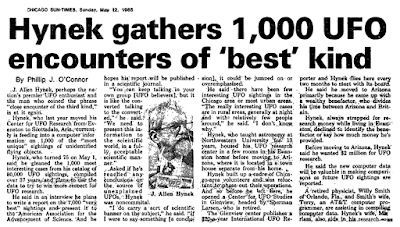 Hynek Gathers 1000 UFO Encounters of The Best Kind - Chicago Sun-Times 5-12-1985