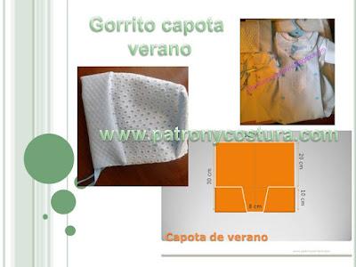 http://www.patronycostura.com/ gorrito capota de verano y babero infantil-Tema 49.html