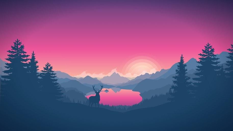 Nature, Landscape, Sunrise, Dawn, Digital Art, Minimalist, 4K, #39