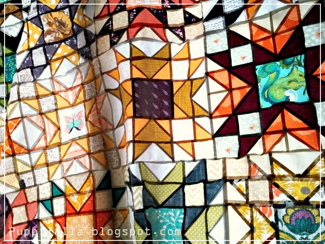 Puppilalla, stained glass, finished quilt top, Double Star Block, The Bee Hive