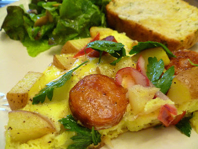 Potato Andouille Omelette w/ Parsley Salad