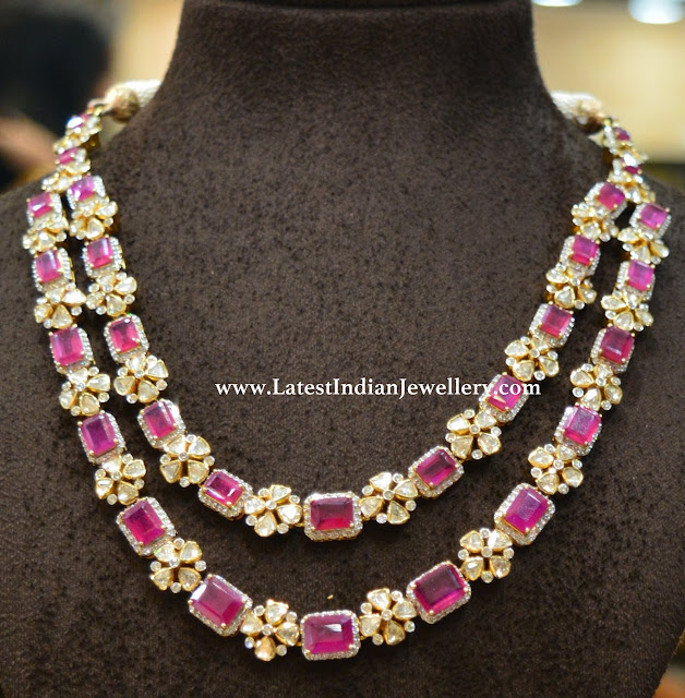 2 Step Pink Ruby Necklace