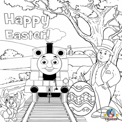 Fat Controller Thomas the train coloring tank engine cute picture to color worksheets for youngsters