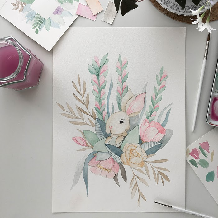Vesivärit, akvarelli, pääsiäinen, pajunkissat, pääsiäispupu, annan tirpat, vesiväritaide, pastellisävyt