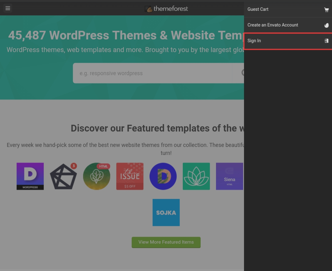 Themeforest sign in