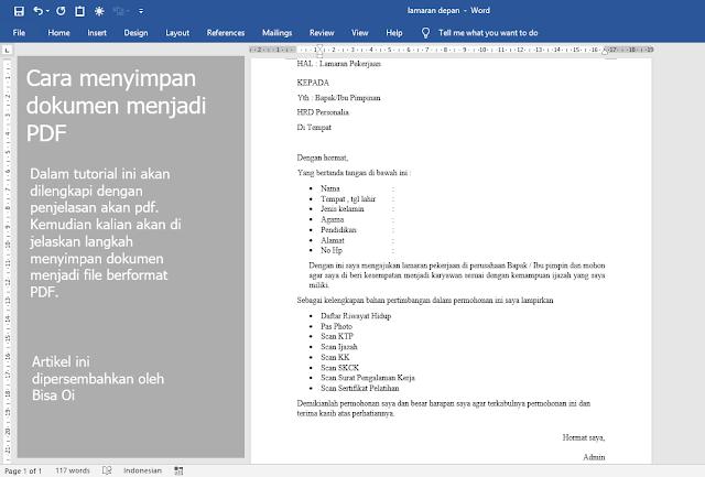 Cara Menyimpan Office Word Menjadi File PDF Terbaru