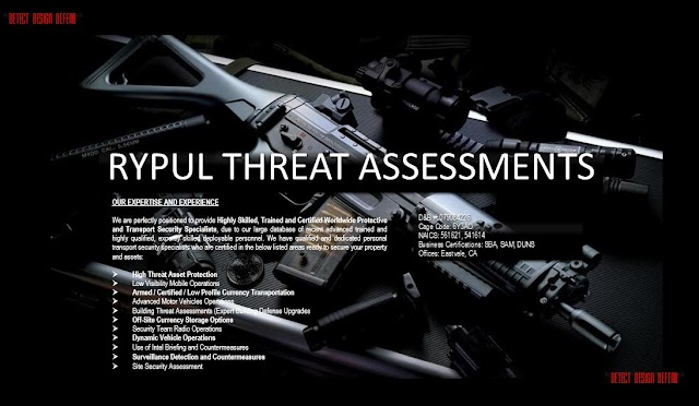 RyPul Threat Assessments School Safety Assessments, Personal Security Details, Executive Protection Agents, Home Security Assessments And Body Guard Placement Services.