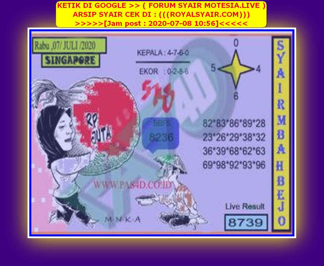 Kode syair Singapore Rabu 8 Juli 2020 109