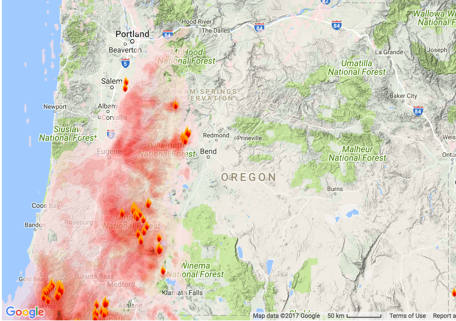 Oregon Smoke Information Oregon State Smoke Forecast for Aug 2627