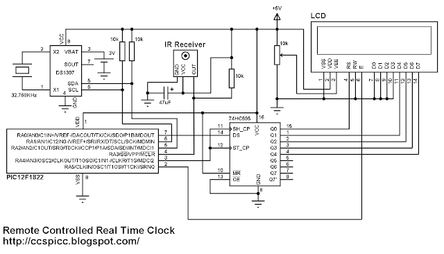 Remote controlled real time clock using PIC12F1822, DS1307 and NEC IR remote control circuit