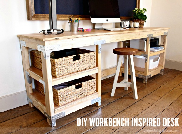diy workbench inspired desk with stool