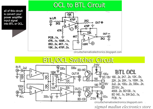 BTL OCL power amplifier input output