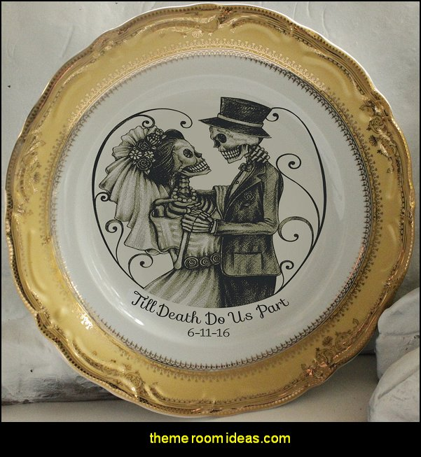 Skeleton Wedding Couple Bride & Groom Plate, Skeleton Wedding Plate, Skull Plate, Skeleton Dish, Goth Wedding