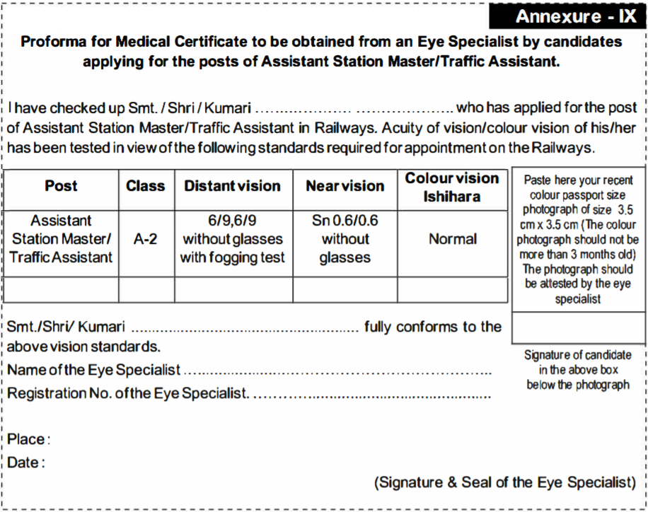 RRB NTPC Medical Certificate, Download Annexure IX form, RRB Medical eye fitness certificate, Eye Test Certificate format for ASM