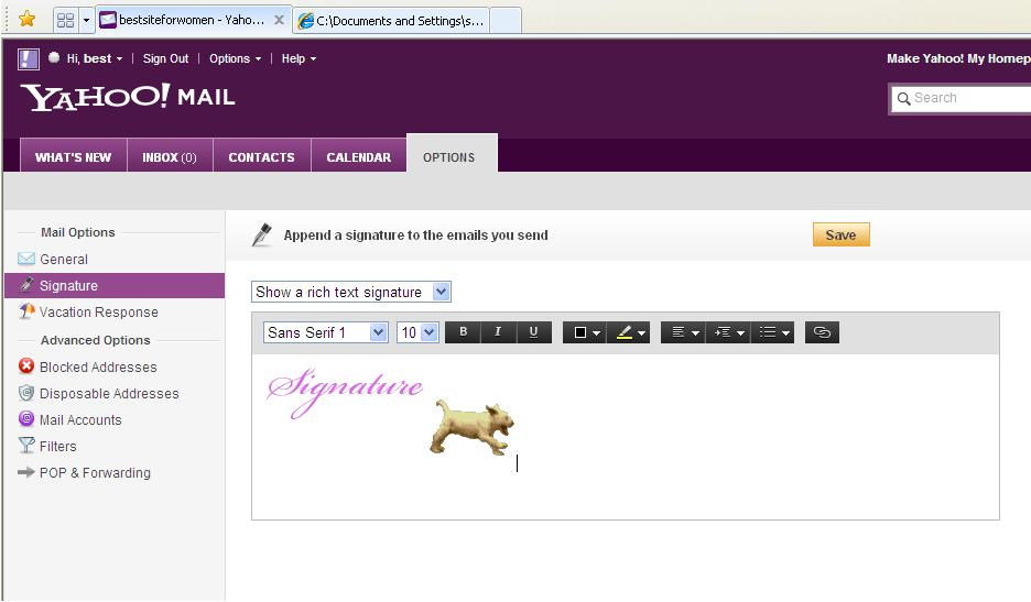 How to insert animated signature in yahoo mail