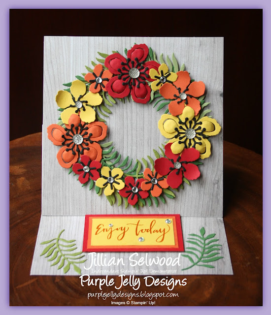 Easel Card, Climbing Orchid Stamp Set, Summer Wreath card