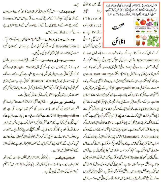 thyroid gland treatment in urdu