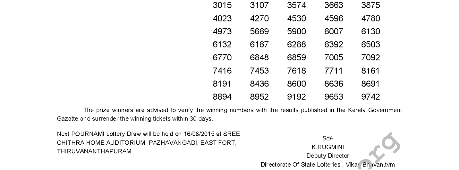 POURNAMI Lottery RN 197 Result 9-8-2015