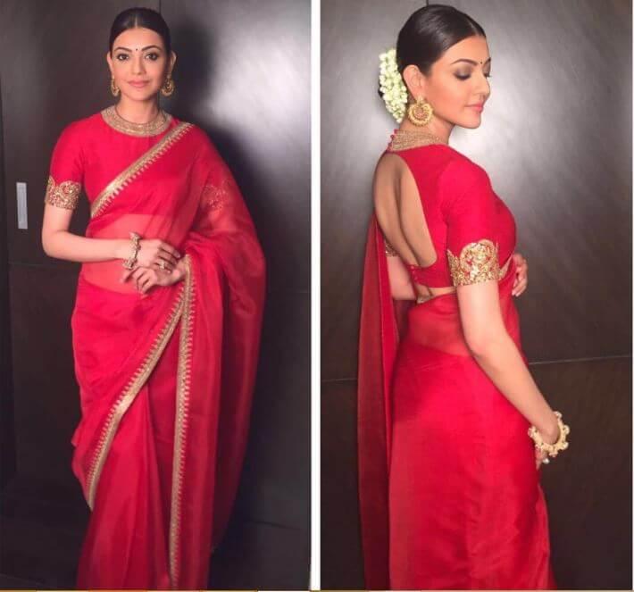 Kajal Agarwal red color saree pics