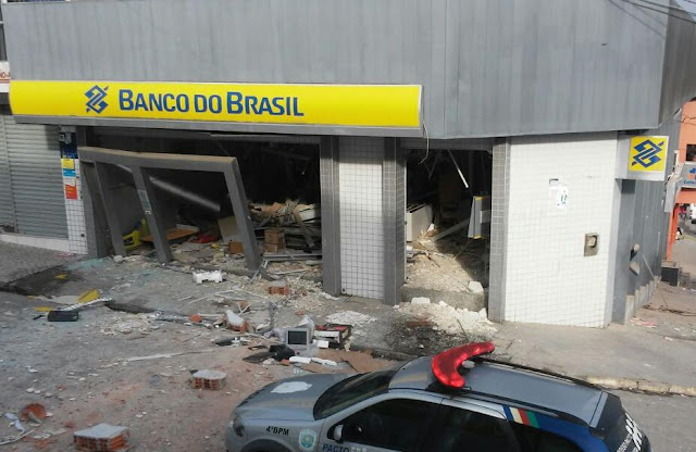 Agência do Banco do Brasil em Jurema-PE destruída após a explosão.