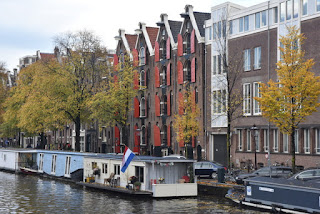 Houseboats and canal houses, Amsterdam, The Netherlands