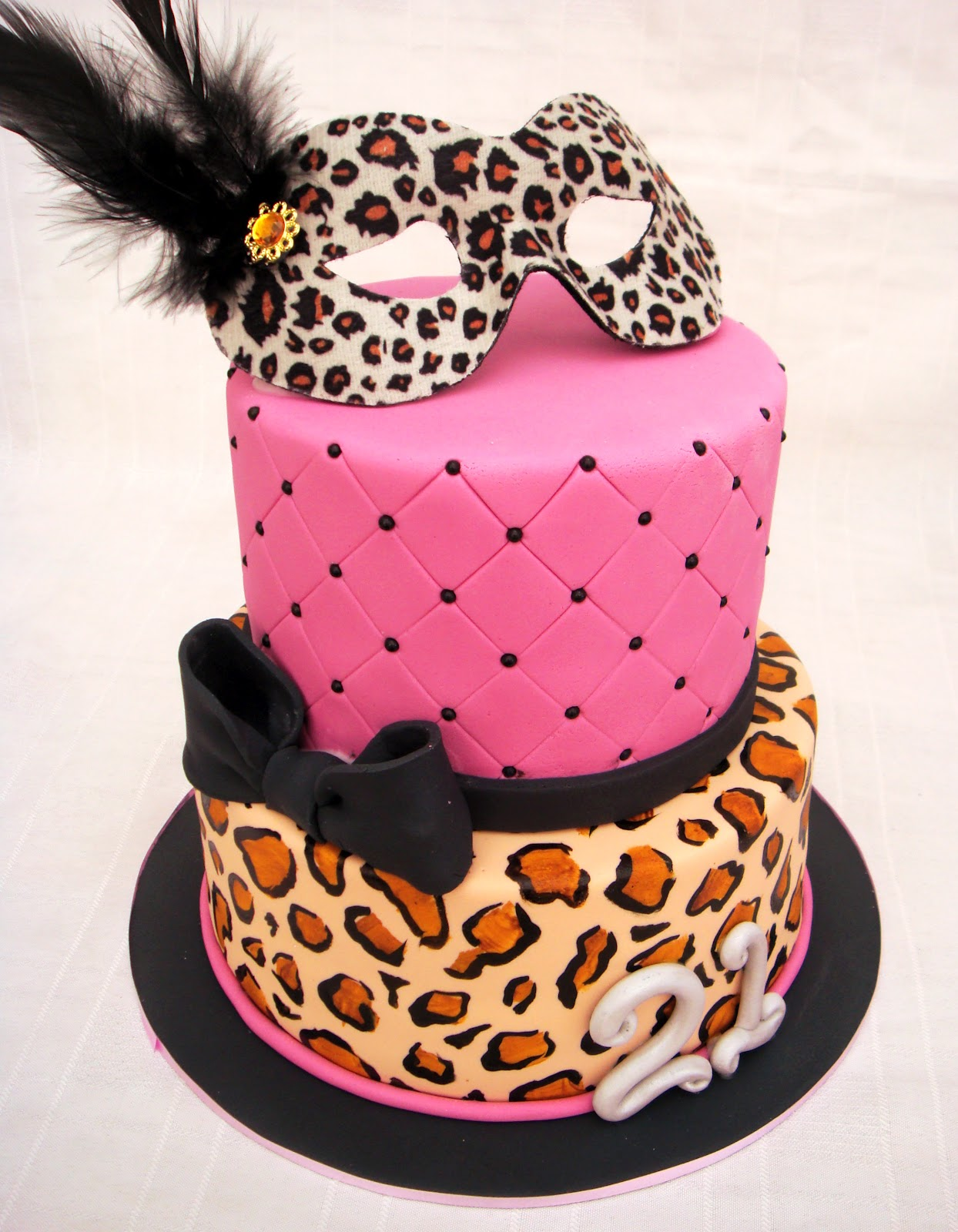 The Colours For Party Were Pink Black And Silver With Some Leopard Print Thrown In On 21st Cake