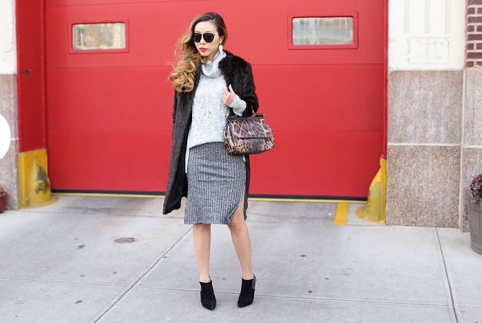 BP Marl Cable Knit Turtleneck, topshop Ribbed Marl Tube Skirt, faux fur coat, karen walker harvest sunglasses, casadei ankle booties, dolce gabbana Miss Sicily Top Handle Leather Satchel, fashion blog, winter outfit ideas