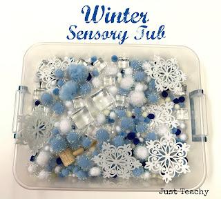 Winter Sensory Tub, www.JustTeachy.com