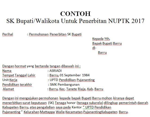 Download Contoh Surat Permohonan SK Bupati/Walikota Untuk Penerbitan NUPTK 2017